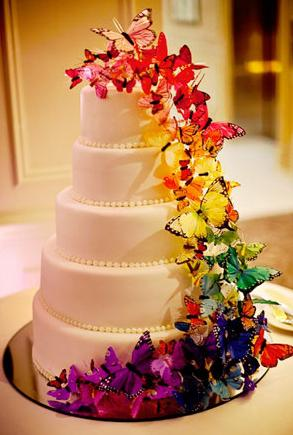 rainbow butterfly wedding cake 翻糖蛋糕 搜狗百科 18957