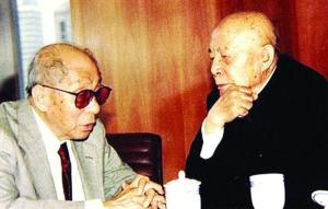 1991年张学良(左)与吕正操在美国会晤