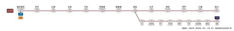 新版14号线一期及知识城支线路图