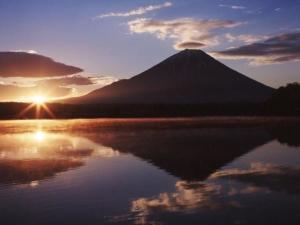 富士山的晚霞